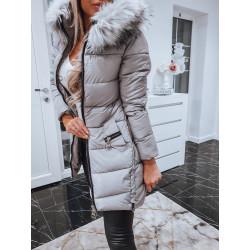 Šedý kabátek se zipy