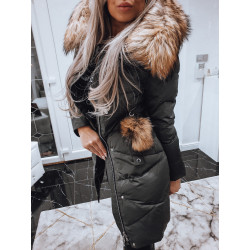 Šedý péřový kabátek s liškou
