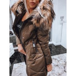 Hnědý péřový kabátek s liškou
