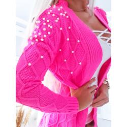 Neon růžový svetr Pearls