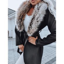 Černý kabátek s kožešinou