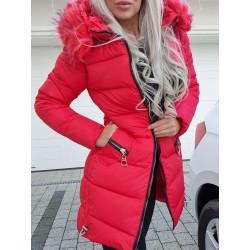 Červený kabátek se zipy