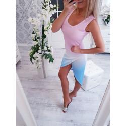 Modrorůžové bavlněné ombré šaty b732eeb712