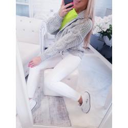Šedý pletený svetr s kapucí