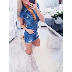 Džínové šaty na zip s mašličkami 572acf88ee