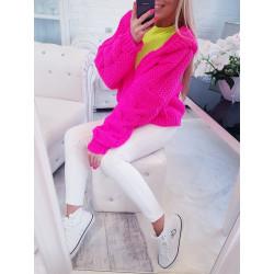 Růžový neon pletený svetr s kapucí
