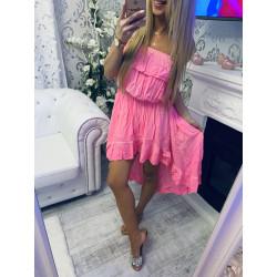 Růžové neon šaty s volánem