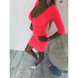 Neonove růžové žebrované šaty