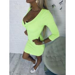 Neonové žebrované šaty