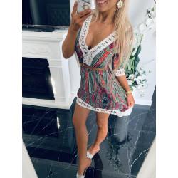 Šaty s krajkou neon