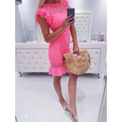 Neon růžové krajkové šaty