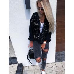 Černá oversize fashion riflová bunda se cvoky