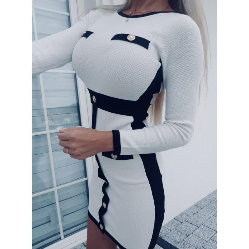 Krémovobílé elastické šaty