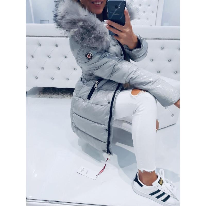 Šedý lesklý kabátek fashion