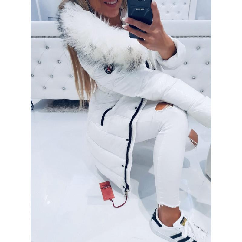 Bílý lesklý kabátek fashion