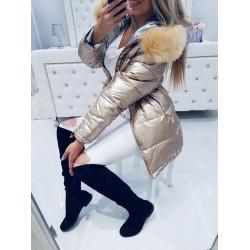 Oboustranný zlatostříbrný kabátek s bohatou kožešinou