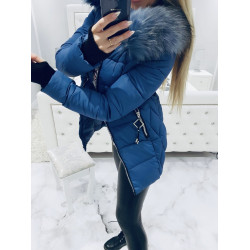 Jeans prošívaný kabátek s bohatou kožešinou