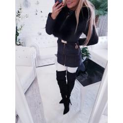 Černý péřový kabátek s bohatou naturální kožešinou