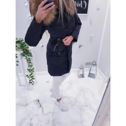 Černý péřový kabátek s naturální kožešinou