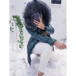 Petrolejový kabátek s šedou kožešinou