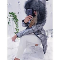 Šedý kovový kabátek s kožešinou