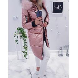 Růžový kovový kabátek s kožešinou