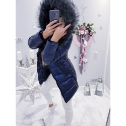 Kovově modrý kabátek s šedou kožešinou