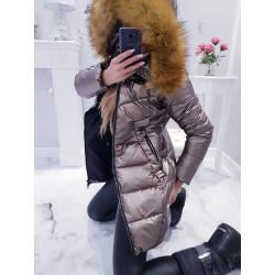 Zlatavý měděný kabátek s krásnou kožešinou
