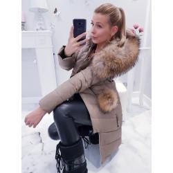 Béžový péřový kabátek s naturalní kožešinou