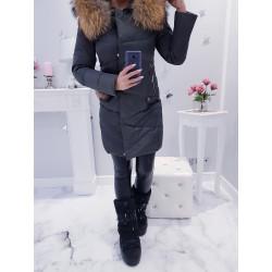 Šedý péřový kabátek s naturalní kožešinou