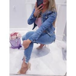 Slim džíny s kamínky na kolenou
