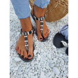 Černé sandálky crystals