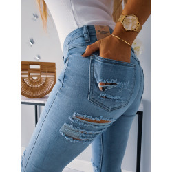 Světlé ripped džíny s trháním