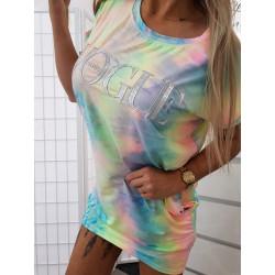 Neonkové batikované šaty/tunika
