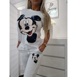 Bílé tepláky Mickey