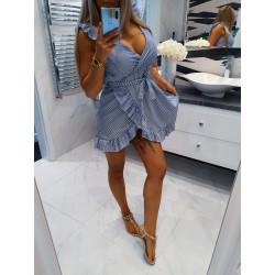 Bílomodré pruhované šaty