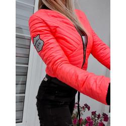 Neonová růžovooranžová prošívaná bundička