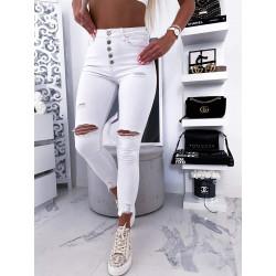 Bílé slim džíny s vysokým pasem